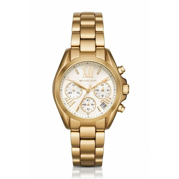 08258cdd62cd Shop Michael Kors Women s MK6267  Mini Bradshaw  Chronograph Gold-tone  Stainless Steel Watch - Free Shipping Today - Overstock - 12430122