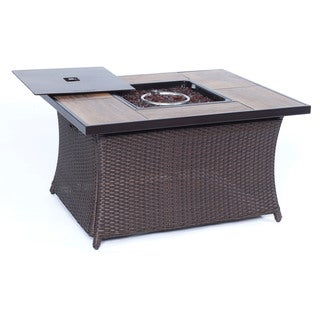 Cambridge Outdoor 40,000 BTU Wood Grain Tile Top Woven Fire Pit Coffee Table