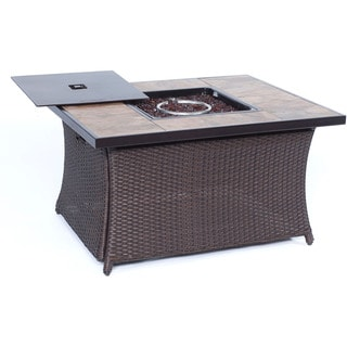 Cambridge Tan Porcelain Tile/Woven Base Outdoor 40,000 BTU Fire Pit/Coffee Table