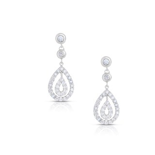 Eloquence 18k White Gold 1ct TDW Dangling Diamond Earrings (I-J, SI2)