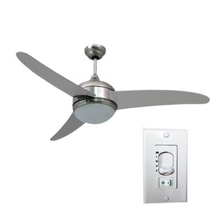 HomeSelects Contemporary Silver Metal/MDF/Glass 52-inch 3-blade Ceiling Fan