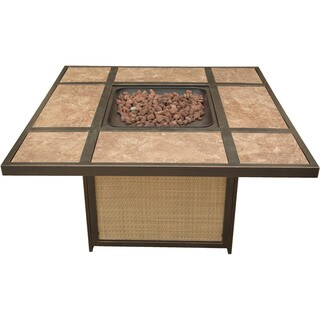 Cambridge Tan/Brown Outdoor Artisan Tile-top LP Gas Fire Pit
