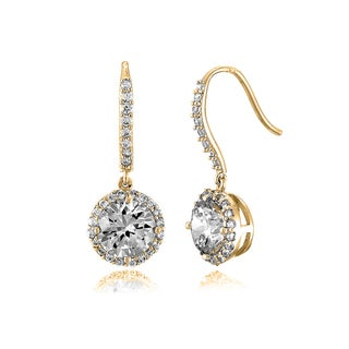 Collette Z C.Z. Sterling Silver Gold Plated Round Drop Euro Earrings