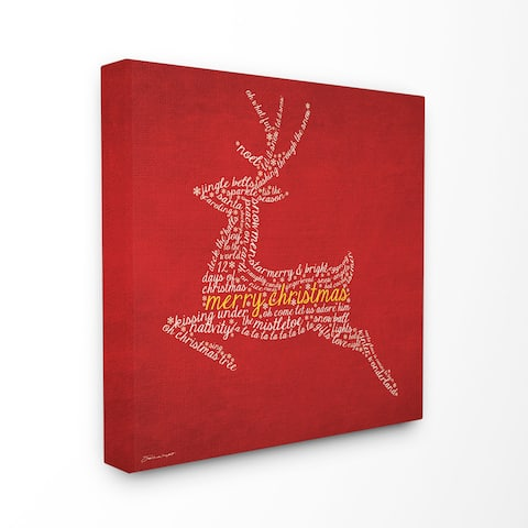 Merry Christmas Reindeer Typography Stretched Canvas Wall Art