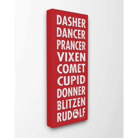 Reindeer Names Typography Stretched Canvas Wall Art