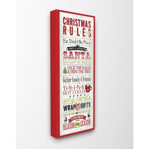 Christmas Rules Typography Stretched Canvas Wall Art