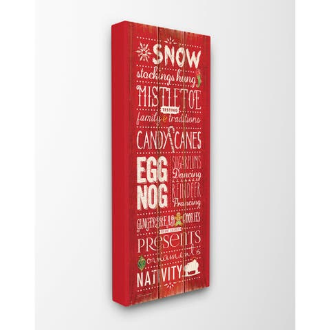 Christmas Season Typography Stretched Canvas Wall Art