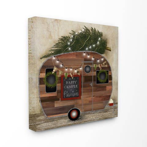 Happy Camper at Christmas Stretched Canvas Wall Art