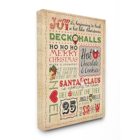 Joy Deck The Halls Typography Stretched Canvas Wall Art - Multi-color