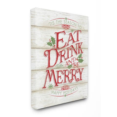 Eat Drink and Be Merry Stretched Canvas Wall Art - Multi-color