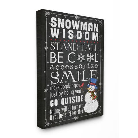 Snowman Wisdom Typography Stretched Canvas Wall Art - Multi-color