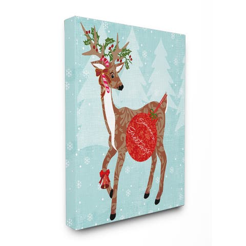 Seasons Greetings with Reindeer Stretched Canvas Wall Art - Multi-color