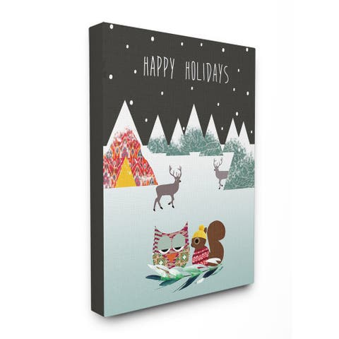 Happy Holidays with Owl and Chipmunk Stretched Canvas Wall Art - Multi-color
