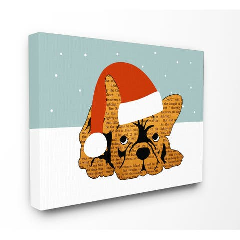 Puppy with Santa Hat Stretched Canvas Wall Art - Multi-color