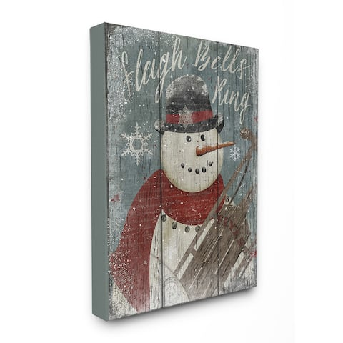 Sleigh Bells Ring Snowman Stretched Canvas Wall Art - Multi-color