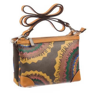 Ripani Time Signature Brown Canvas/Leather 7-inch High x 5-inch Wide x 2-inch Deep Crossbody Clutch