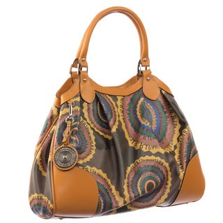 Ripani Time Brown Canvas and Leather Pleated Satchel Bag