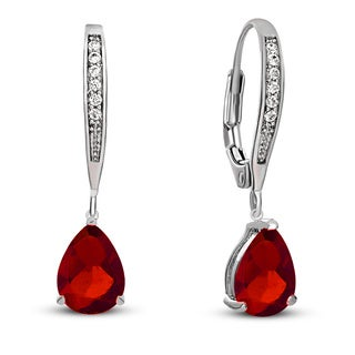 Collette Z C.Z. Sterling Silver Rhodium Plated Ruby Teardrop Earrings