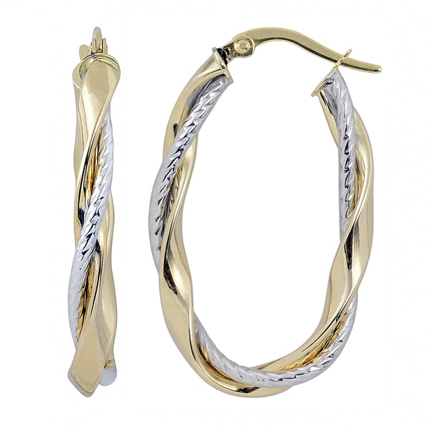 Fremada Italian 14k Two Tone Gold High Polish And Textured Twisted Oval Hoop Earrings