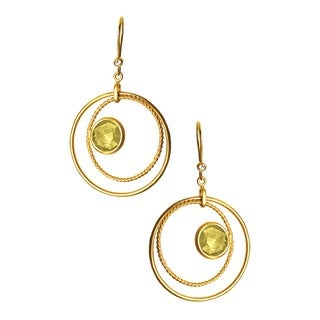 Collette Z C.Z. Sterling Silver Gold Plated Lemon Quartz Brazilian Circle Drop Earrings