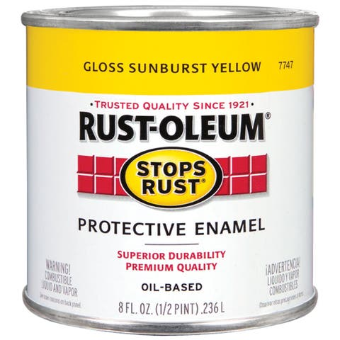 Rustoleum Stops Rust 7747-730 1/2 Pint Gloss Sunburst Yellow Oil Based Protective Enamel