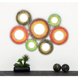 Urban Designs Bohemian Mulitcolor Metal and Mirror Mosaic Wall Decor