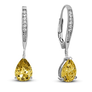 Collette Z C.Z. Sterling Silver Rhodium Plated Lemon Teardrop Hoop Earrings