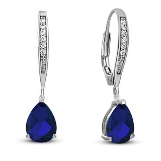 Collette Z C.Z. Sterling Silver Rhodium Plated Teardrop Hoop Earrings