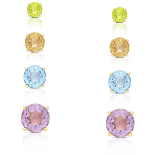 Dolce Giavonna Gold Over Sterling Silver Gemstone Round Stud Earrings (Set of 4)