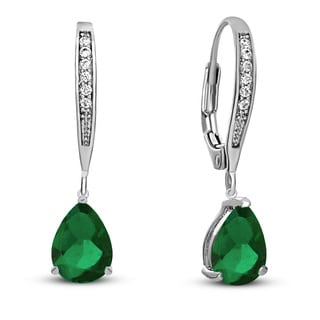 Collette Z C.Z. Sterling Silver Rhodium Plated Emerald Teardrop Earrings