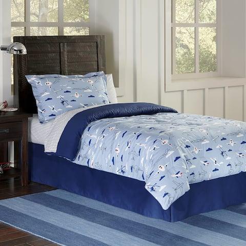 Lullaby Bedding Airplane Cotton Printed 4-piece Comforter Set