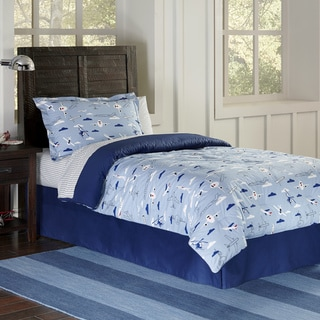 Lullaby Bedding Airplane Cotton Printed 4-piece Comforter Set