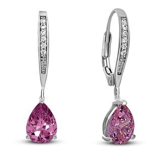Collette Z C.Z. Sterling Silver Rhodium Plated Pink Teardrop Hoop Earrings