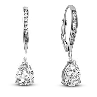 Collette Z Sterling Silver Rhodium Plated C.Z. Teardrop Hoop Earrings