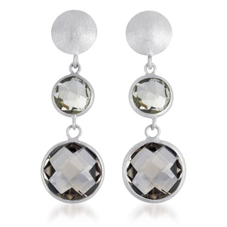 Collette Z Rhodium Overlay Genuine Light Smoky Quartz Earrings