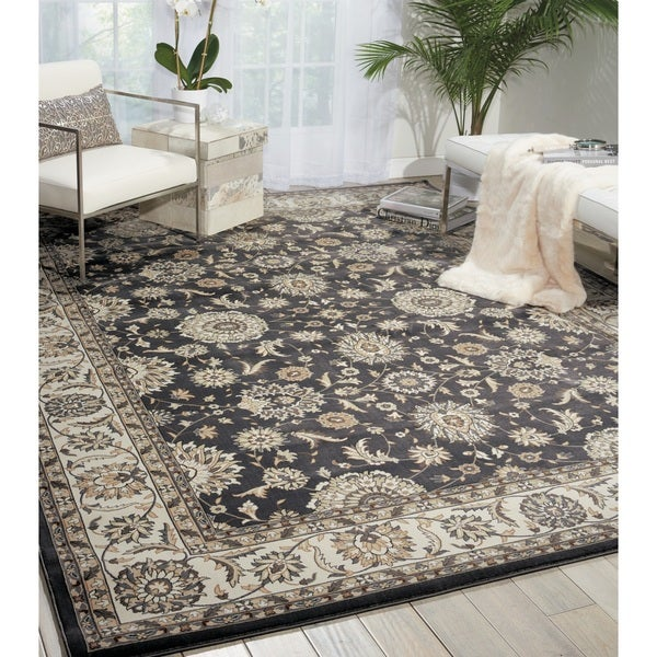 Nourison Persian Crown Charcoal/Ivory Area Rug (3'9 x 5'9) - 3'9 x 5'9