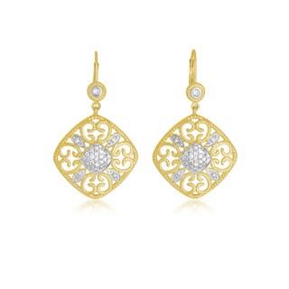 Collette Z Sterling Silver Two Tone White Topaz Square Shape Drop Euro Earrings