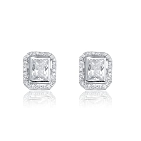 Collette Z C.Z. Sterling Silver Rhodium Plated Square Earrings - White