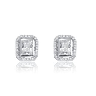 Collette Z C.Z. Sterling Silver Rhodium Plated Square Earrings