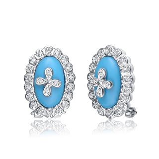 Collette Z C.Z. Sterling Silver Rhodium Plated Turquise Oval Shape Omega Earrings