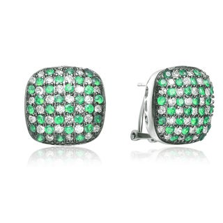 Collette Z Sterling Silver Green and Clear Cubic Zirconia Square Stud Earrings