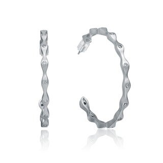 Collette Z CZ Matte Hoop Earrings