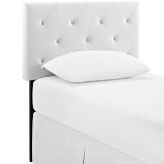 Terisa Tufted White Vinyl Headboard