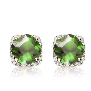 Collette Z C.Z. Sterling Silver Gold Plated Peridot Square Earrings