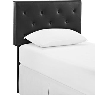 Terisa Tufted Black Vinyl Headboard