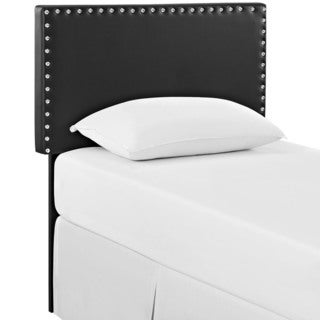 Phoebe Black Vinyl Twin Headboard