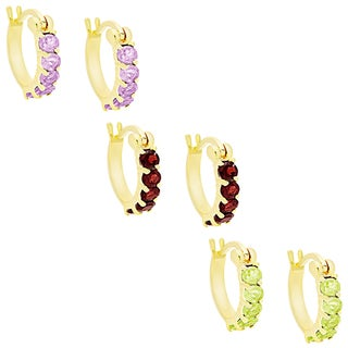 Dolce Giavonna Gold Over Sterling Silver Gemstone Hoop Earrings (Set of 3)