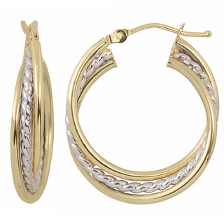 Fremada Italian 14k Two-tone Gold High Polish and Textured Overlapping Triple Hoop Earrings