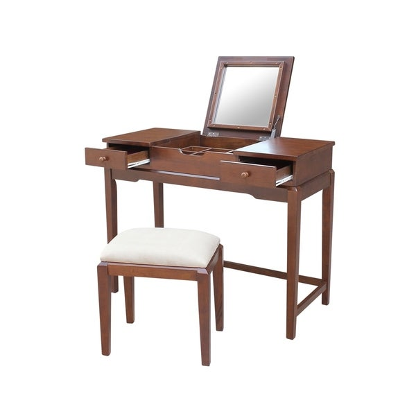 Solid Wood Vanity Table With Bench Espresso Finish