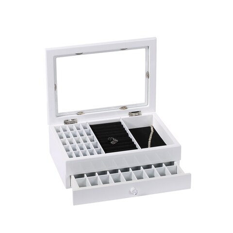 Ikee Design White/Black Wood Storage Box for Jewelry and Accessories
